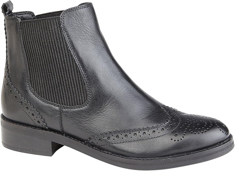 Ladies Womens New Leather Slip On Smart