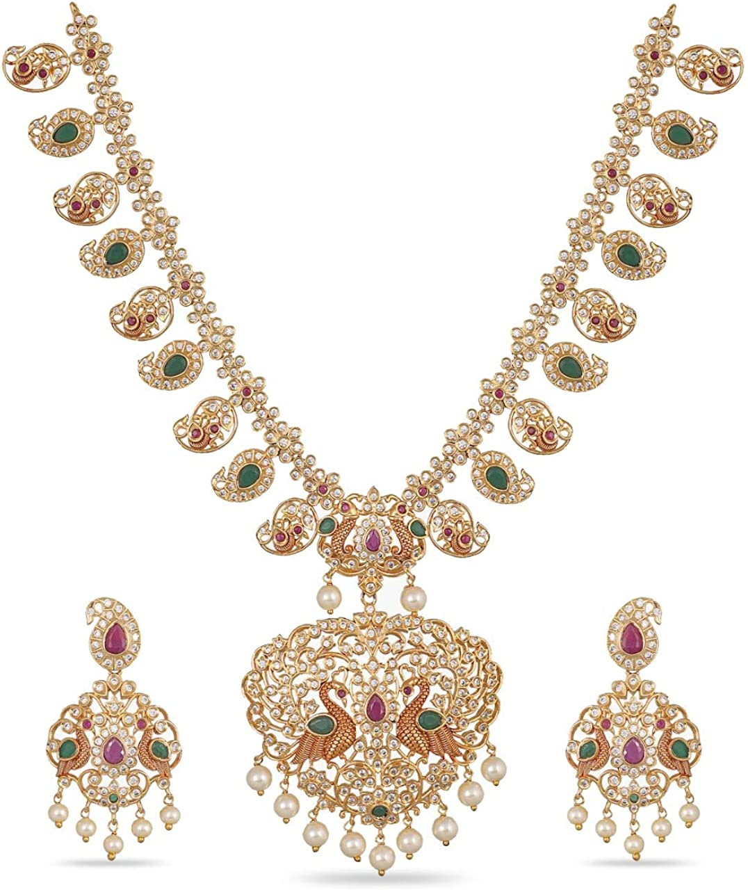 Tarinika Antique Panchi Gold Plated Indian Jewelry Set with Necklace and Earrings - White Red Green