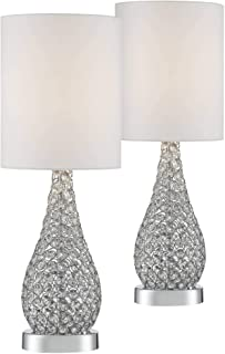 Kasey Modern Accent Table Lamps Set of 2 Crystal Bead Silver Gourd White Drum Shade for Living Room Family Bedroom Bedside - Possini Euro Design