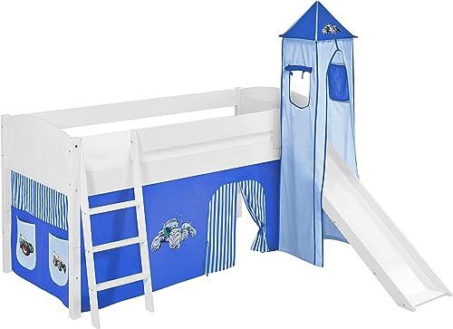 Lilokids Spielbett IDA 4106 Trecker Blau - Teilbares Systemhochbett Weiß - mit Turm, Rutsche und Vorhang