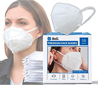 Reli. Premium 5-Layer Face Masks (10 Masks) | Individually Wrapped | Elastic Ear Loop | Comfortable & Breathable Face Prot...