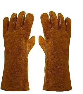 2組の電気溶接手袋二層伸長耐摩耗性耐熱茶色黄色