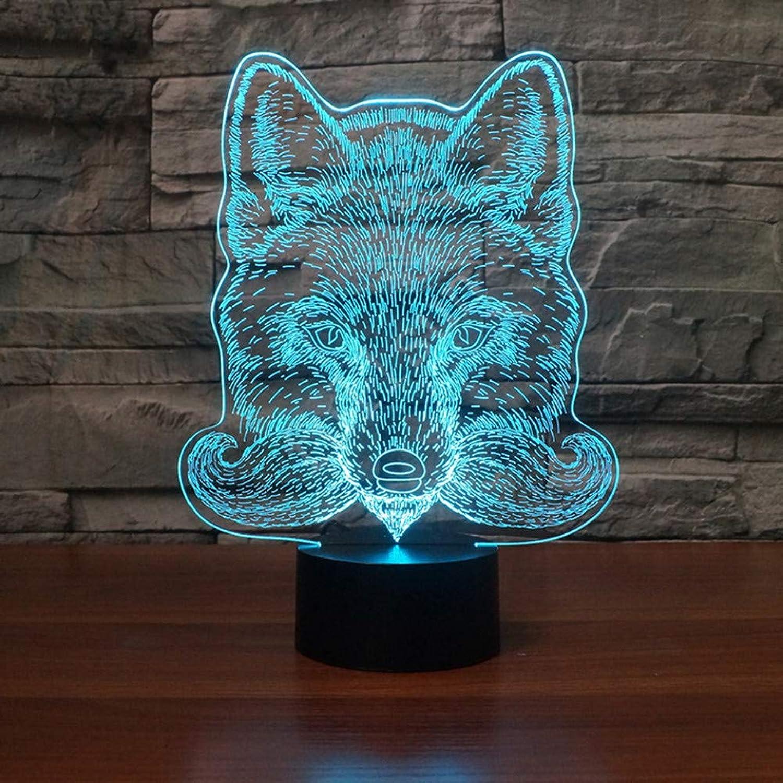 Fdlzz Wolf Kopf 3D Illusion Lampe LED USB Touch 7 Farbwechsel 3D Nachtlicht Nachttischlampe Schlaf Tischlampe,Berührungsschalter
