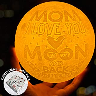 Mom I Love You to the Moon and Back Moon Lamp Personalized Night Lights Xmas Birthday Wedding Sentimental Presents for Bonus Mommy Step Mother in Law Stepmom from Daughter Son Bride Groom