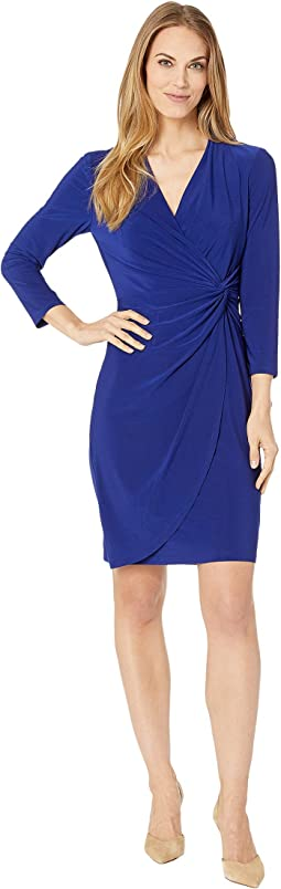 Open Neckline Twist Front Jersey Dress