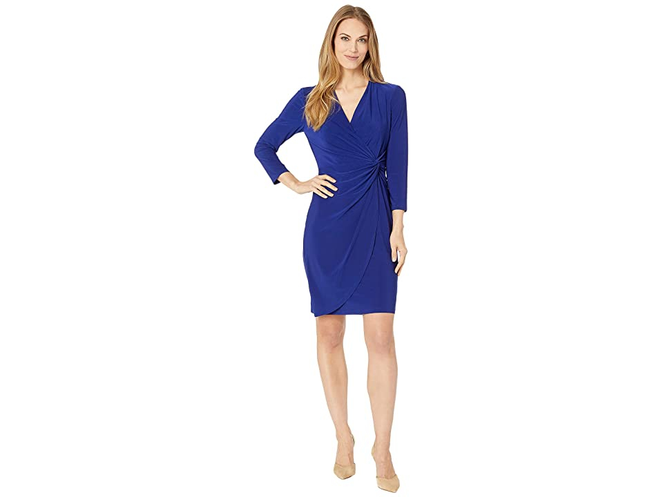 CHAPS Open Neckline Twist Front Jersey Dress (Deep Hydrangea) Women
