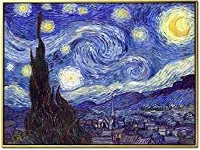 Wieco Art Framed Art Giclee Canvas Prints of Starry Night by Vincent Van Gogh Paintings Reproduction Post-Impressionism Artwork Framed Wall Art for Living Room Home Decorations P1XK-3040-GF