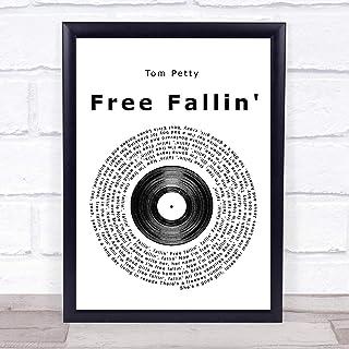 Free Fallin' Vinyl Record Song Lyric Quote Music Poster Gift Present Art Print