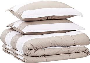 AmazonBasics Comforter Set, King, Tan Rugby Stripes, Microfiber, Ultra-Soft