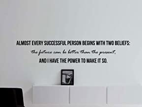 """Motivational Inspiring Quote Wall Decal """"Almost Every Successful Person Begins with Two Beliefs"""" 42x9 Inches"""