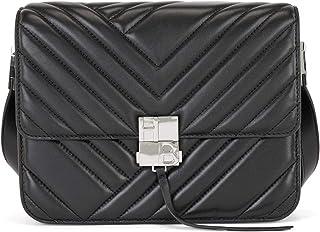 BOSS Damen Ella Should Bag-Q Abgesteppte Umhängetasche aus Nappaleder mit Monogramm-Detail