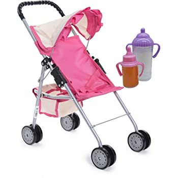 """fash n kolor My First Doll Stroller with Basket - Pink & Off-White Foldable Doll Stroller - Fits Upto 18"""" Dolls, 2 Free Magic Bottles Included"""