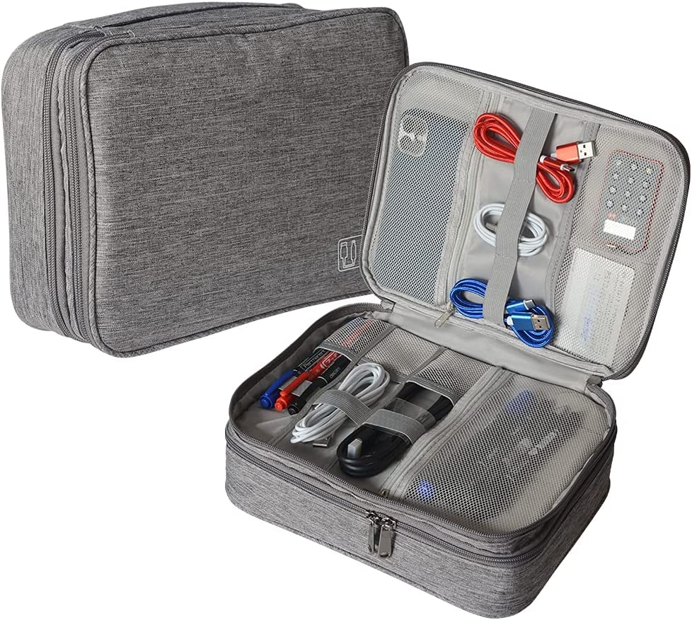 Electronics Travel Organizer, Waterproof Electronic Accessories Case Portable Double Layer Cable Storage Bag for Cord, Charger, Flash Drive, Phone, Ipad Mini, SD Card, Digital travel bag (gray)