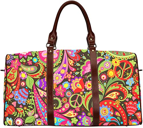 Large Leather Travel Duffel Bag For Men Women Hippie Vivid Decorative Wallpaper Colorful Flowers Printing Waterproof Overnight Weekend Bag Luggage Tote Duffel Bags For Travel Gym Sports School Beach