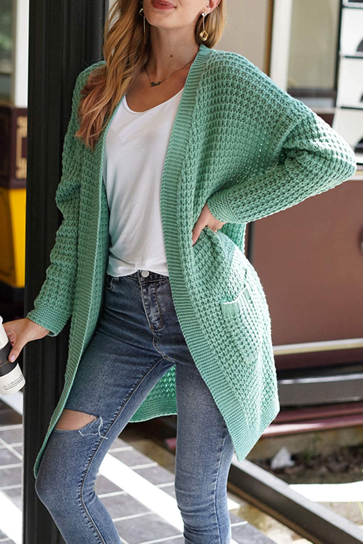 MAGIMODAC Strickjacke Damen Strick Cardigan Grobstrick Lang Strickmantel Pullover Herbst Winter Jacke Mantel mit Taschen Grün
