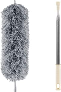 Microfiber Duster for Cleaning with Extension Pole, Extra Long 100 inches Dust Cleaner with Bendable Head, Extendable Car Duster for Cleaning Interior Car, Ceiling Fan, Blinds, High Ceiling, Cobwebs