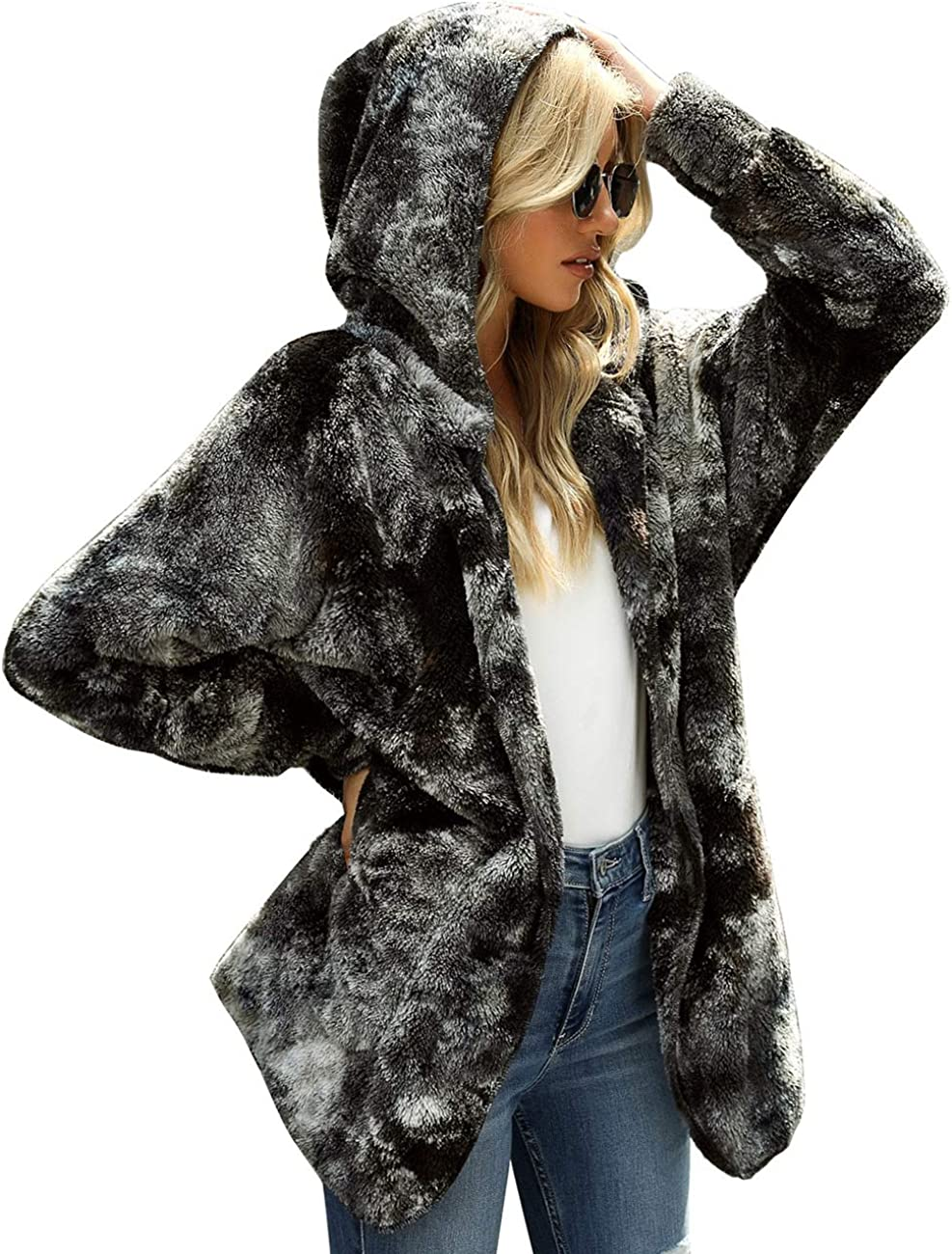 Vetinee Women Casual Fuzzy Fleece Hooded Cardigan Pocket Faux Fur Outerwear Coat