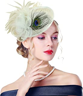 96539d403e562 Edith qi Lady Retro Peacock Cocktail Fascinators Sinamay Derby Hats for  Wedding Party