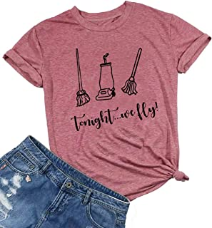 HRIUYI Tonight We Fly Halloween T-Shirt for Women Sanderson Sister's Hocus Pocus Tee Letter Print Graphic Tee Shirt