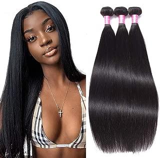 "FQ Peruvian Straight Human Hair 3 Bundles(14"" 16"" 18"") 10A Unprocessed Peruvian Virgin Straight Human Hair Weave Bundles Extensions Natural Color Peruvian Straight Human Hair Bundles"