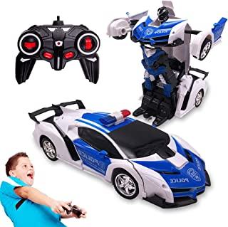 Pup Go Remote Control Car Toys for 5-12 Years Old Kids, 2 in 1 Transformer Robot RC Racing Cars One-Button Transforming, 3...