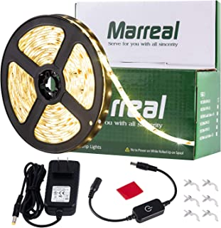 Marreal LED Strip Lights,16.4ft Warm White, SMD 2835 300LEDs, Super-Adhesive LED Lights Full Set with UL-Listed Power Adapter, and Touch Dimmer,Waterproof, DIY Decorative Lighting,Home,Kitchen