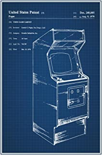 Retro Arcade Video Game Cabinet Official Patent Blueprint Cool Huge Large Giant Poster Art 36x54