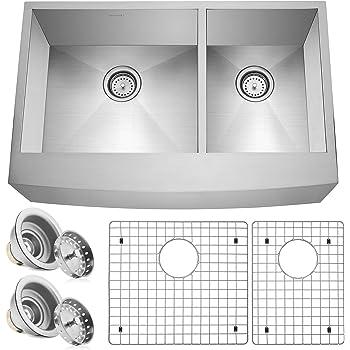 "Miligore 33"" x 21"" x 10"" Deep Double Bowl (60/40 Split) Farmhouse Apron Zero Radius 16-Gauge Stainless Steel Kitchen Sink - Includes Drains/Grids"