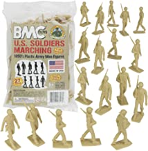 BMC Marx Plastic Army Men Marching US Soldiers - Tan 27pc WW2 Figures Made in US