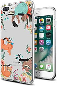 Case for iPhone 7 Plus iPhone 8 Plus, Clear with Design Funny Cute Sloth Transparent Phone Cover for Girls Men Women Style Shockproof Bumper Anti-Drop-Scratch Soft TPU Frame for 5.5