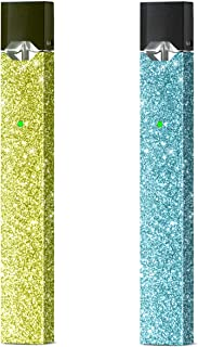 [2 Pack] JUUL Skin  Golden Yellow Glitter and Blue Glitter for Juul   Juul Skin   Juul Wrap   Juul Sticker