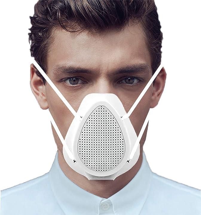 Mascherina purificatore d`aria traspirante riutilizzabile intelligente per la protezione del viso, filtri hepa B087CB3XN3