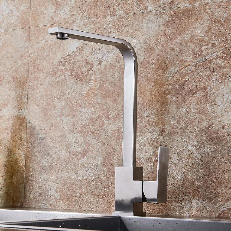 Edelstahl Küchenmischer Wasserhahn Einzigen Handgriff Bad Küche Kranhahn Nickel Gebürstet Spülbecken Hei Kaltwasserhahn