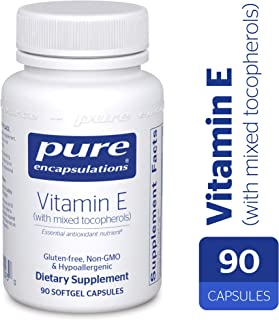 Pure Encapsulations - Vitamin E (with Mixed Tocopherols) - Dietary Supplement for Proper Cellular and Cardiovascular Functioning* - 90 Softgel Capsules