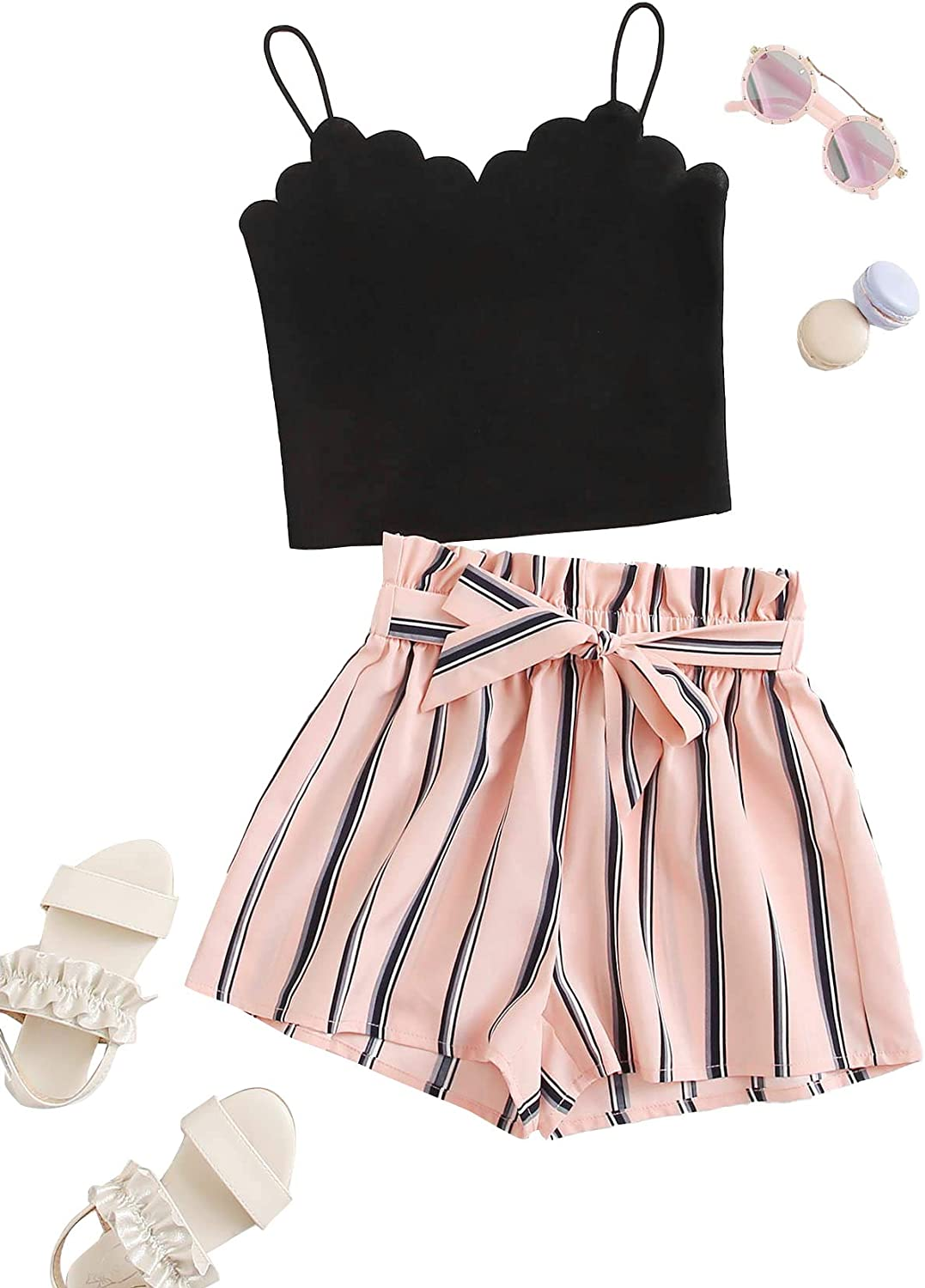 MakeMeChic Girl's Portland Mall 2 Piece Scallop Trim Cami and Columbus Mall Top Crop Belted