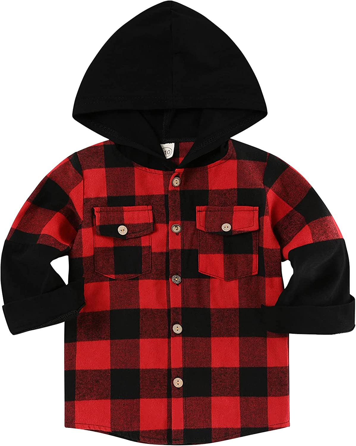 Toddler Baby Boy Hoodie Long Sleeve Plaid Button Down Shirt Fall Winter for Kids Clothes