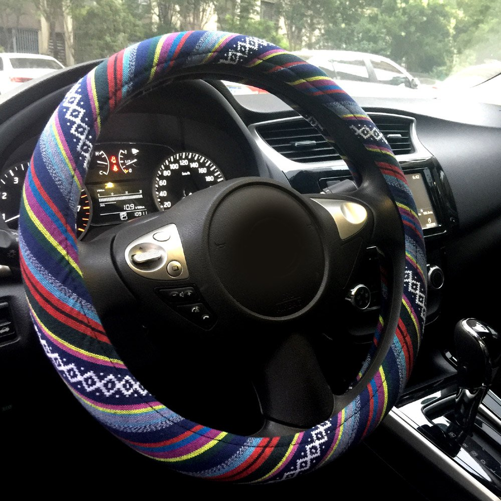 Blue Anti Slip Cotton Binsheo Ethnic Style Bohemian Auto Car Steering Wheel Cover for Women Girls Ladies 15 inch