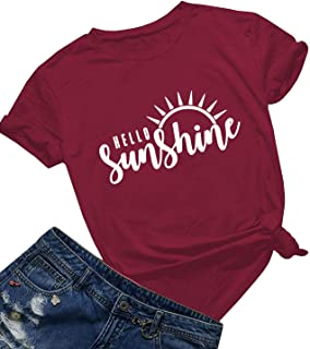 Hello Sunshine T Shirt Women Summer Cute Graphic Vacation Shirt Short Sleeve Print T Shirt Nature Shirt