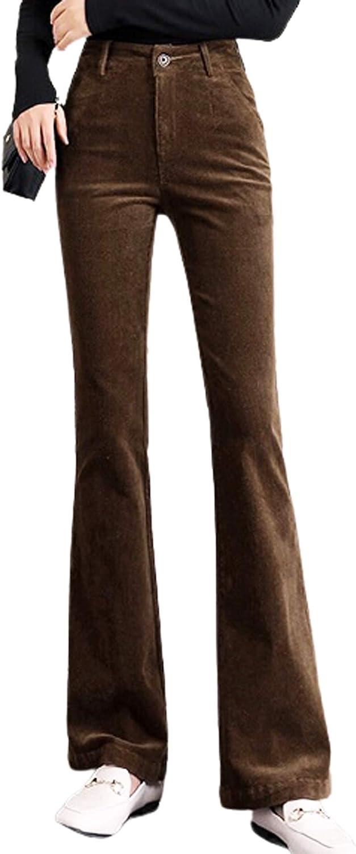 Womens High Waist Corduroy Loose Straight Leg Pants Vintage Retro Bell Bottom Elastic Long Trouser with Two Pockets