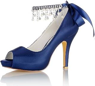 64f0beb4 Emily Bridal Zapatos Nupciales Zapatos de Invitados de Boda Zapatos de  Madre Azul Profundo Peep Toe