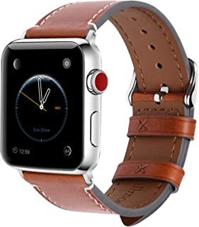 Fullmosa Compatible Apple Watch Band 40mm 38mm 42mm 44mm Genuine Leather iWatch Bands, 38mm 40mm Dark Brown + Silver Buckle