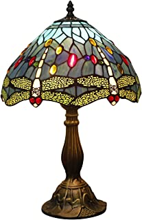 Tiffany Lamp Sea Blue Stained Glass and Crystal Bead Dragonfly Style Table Lamps Height 18 Inch for Living Room Antique Desk Beside Bedroom S529 WERFACTORY