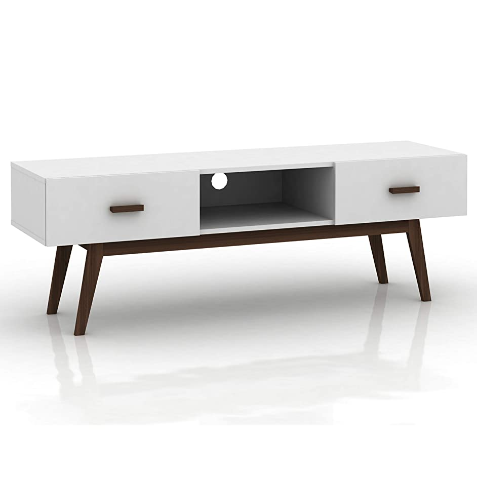 DG Casa 1550-TV-WNT Aleya Mid Century Modern Stand Entertainment Center Console with Storage Drawers for TVs up to 55 inch in High Gloss White and Walnut Finish