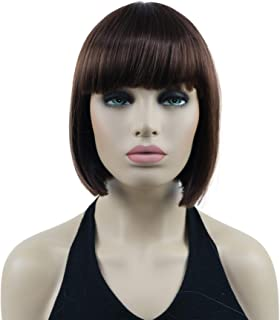 "Lydell 8"" Straight Short Bob Hair Flat Bangs Cute Central Dot Skin Top Heat Resistant Synthetic Wigs (31 Medium Auburn)"
