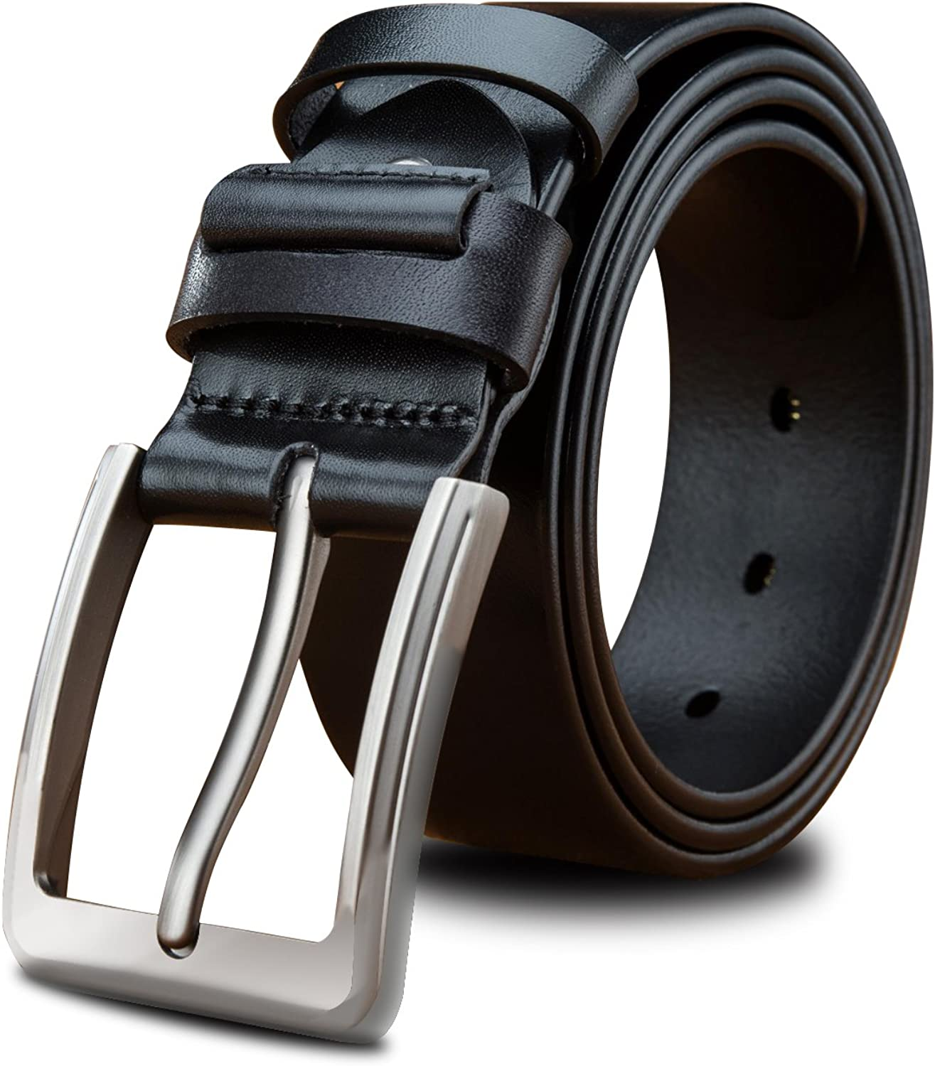 LUCIANO Italy Cowhide Genuine Leather Black & Brown Belt Men's Dress Belts for Gift