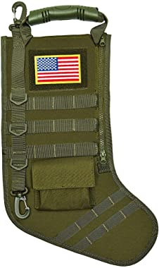 SPEED TRACK Tactical Christmas Xmas Stocking W/Handle, Perfect Mantel Decoration, Gift for Veterans Military Patriotic and Ou