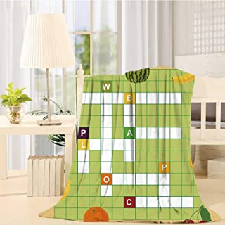 C COABALLA Word Search Puzzle Comfortable Print Blanket,Vivid Graphic Summer Fruits with Educational Crossword Game for Kids Decorative for Sofa,49