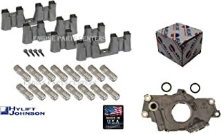 SET (16) Hylift-Johnson USA-MADE hydraulic roller lifters, (4) lifter guides, and (4) guide screws & Melling Oil Pump compatible with GMC Chevy 4.8L 5.3L & 6.0L Trucks