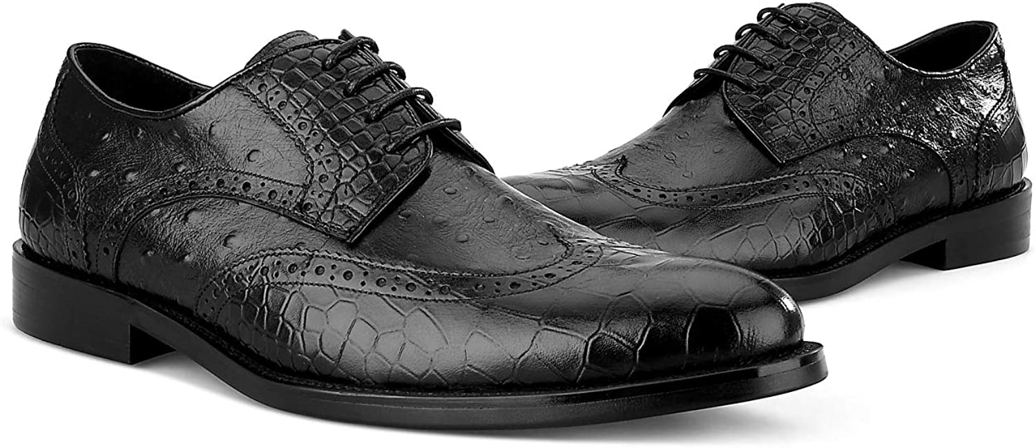 BONGZUO Handcrafted Leather Oxford shoes, Crocodile Business Dress Embossed Men shoes Goodyear Leather Handmade Tide shoes, YMRY-01