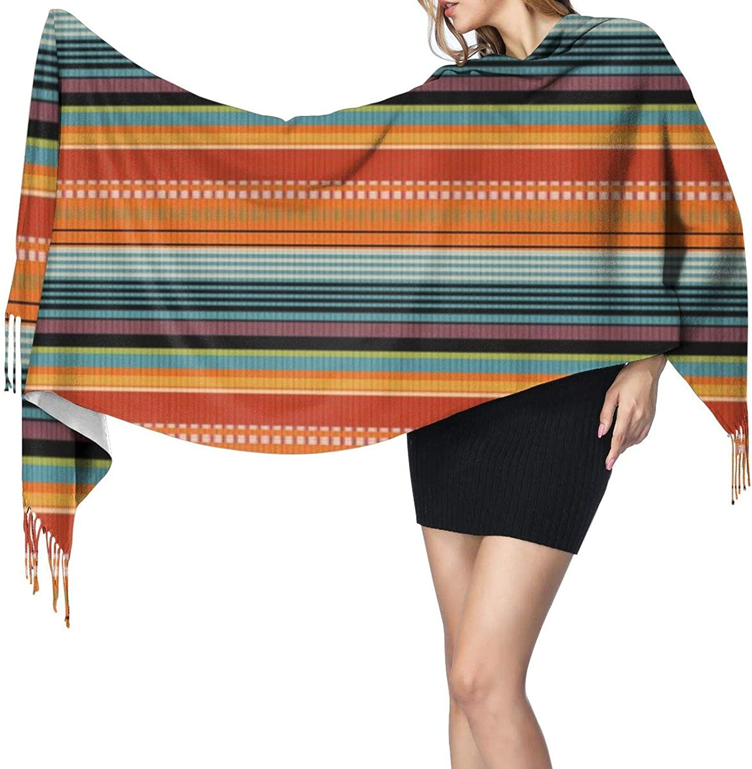Cashmere fringed scarf Colorful Mexican Blanket Stripes winter extra large scarf